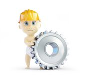 Baby construction helmet gear. 3d Illustrations on a white background Stock Images