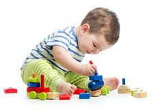 Baby with construction set Stock Photography