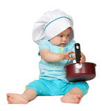Baby cook. In toque over white background Royalty Free Stock Images