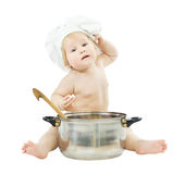 Baby cook in chef hat with big pot. Holding food. Isolated Royalty Free Stock Images
