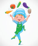 Baby cook juggles vegetables Royalty Free Stock Images