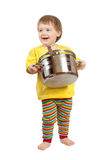 Baby cook with  pan. Over white background Stock Image