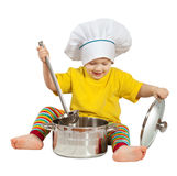 Baby cook  with  pan. Isolated over white Royalty Free Stock Photo