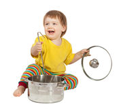 Baby cook with  pan. Isolated over white Royalty Free Stock Photos