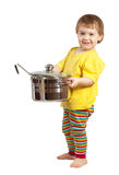 Baby cook with  pan. Isolated over white Royalty Free Stock Image
