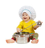 Baby cook with  pan. Isolated over white. Baby cook in toque with  pan. Isolated over white background Royalty Free Stock Photo