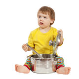 Baby cook with  pan. Isolated over white. Background Stock Photos
