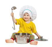 Baby cook with  pan. Isolated over white. Baby cook in toque with  pan and ladle. Isolated over white background Stock Images
