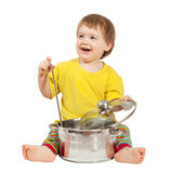 Baby cook with  pan. Isolated over white Stock Images