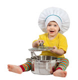 Baby cook  with  pan. Isolated over white Stock Image