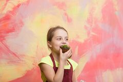 Baby cook in red chef apron on colorful abstract wall. Baking and delicious bakery. Healthy food and diet concept. Girl eating cupcake. Happy child smiling Royalty Free Stock Image
