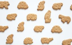 Baby cookies animals fun food snack for kids on a white background. Proper children food. Homemade cooking. Safe food. stock photos