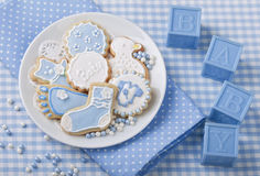 Baby cookies. On a white plate royalty free stock photos