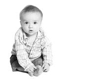 Baby with copy space. Adorable baby boy with copy space in photo stock image