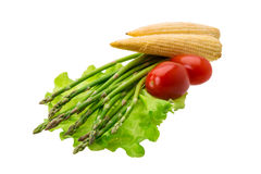 Baby corn with asparagus Stock Images