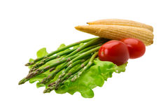 Baby corn with asparagus Stock Image