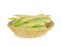 Baby corn in basket on white background Royalty Free Stock Photo