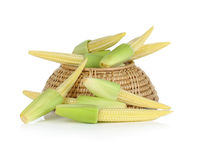 Baby corn in basket on white background.  Stock Image