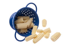 Baby Corn in a Blue Colander Royalty Free Stock Photo