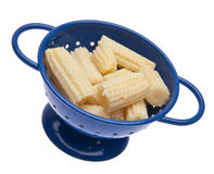 Baby Corn in a Blue Colander Stock Photo