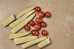 Baby corn cobs arranged Stock Images