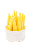 Baby corn in a cup isolated on white background Stock Photo