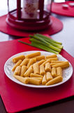Baby Corn in a dish. Baby Corn in a plate Royalty Free Stock Photo