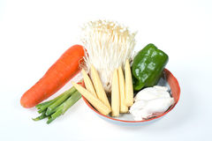 Baby corn,king trumpet mushroom,needle mushroom,onions,carrot,green pepper Stock Photography