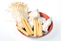 Baby corn,king trumpet mushroom,needle mushroom Royalty Free Stock Photos