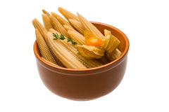 Baby corn. With thyme isolated Royalty Free Stock Images