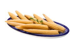 Baby corn. With thyme isolated on white background Stock Photo