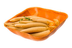 Baby corn. With thyme isolated on white background Stock Images