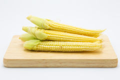 Baby corn on wooden plate, on white Royalty Free Stock Images