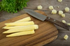 Baby corns and knife on cutting board,food ingredient. Baby corns and knife on cutting board Stock Images