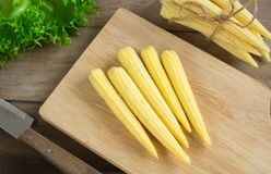 Corns and knife on cutting board. Baby corns and knife on cutting board Stock Images