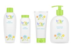 Baby cosmetic tubes with kids design. Vector Royalty Free Stock Photo