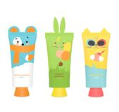 Baby cosmetic tubes with kids design. Vector Stock Photography