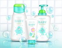 Baby cosmetics bottles with kids design bathroom. Baby cosmetics bottles with kids design and flying soap bubbles, plastic tubes mockup of cream, shampoo, foam stock illustration