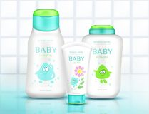Baby cosmetics bottles with kids design bathroom. Baby cosmetics bottles with kids design, plastic packages mock up of cream, shampoo, soap, foam, moisturizer royalty free illustration