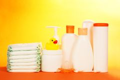 Baby cosmetics and diapers Royalty Free Stock Photography