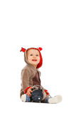 Baby in costume with clock looking up Stock Photo