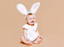 Baby in costume easter bunny Royalty Free Stock Images