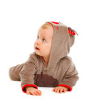 Baby in costume looking in corner Royalty Free Stock Photo