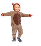 Baby in costume of Santa Clauss reindeer dancing Royalty Free Stock Photography