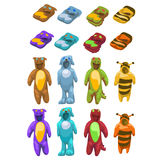 Baby costumes plush animals, icons vector set Royalty Free Stock Photography