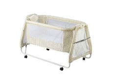 Baby cot with mosquito net Royalty Free Stock Image
