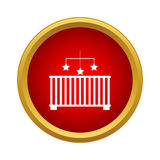 Baby cot with toy icon, simple style Royalty Free Stock Photo