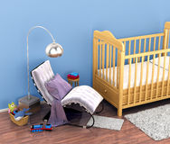 Baby cot, toys, a chair, a rug for the feet in a comfortable chi Stock Photography