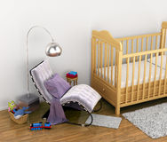 baby cot, toys, a chair, a rug for the feet Stock Photo