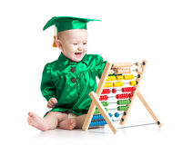 Baby with counter toy. Concept of early learning Royalty Free Stock Photos